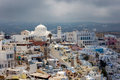 Fira santorini greece overlooking the principal town of europe Royalty Free Stock Photo