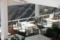 Fira santorini greece a restaurant in town island Royalty Free Stock Photography