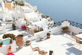 Fira santorini greece a restaurant in town island Stock Photos