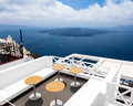 Fira santorini greece seats on a roof in Stock Photography