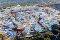Fira santorini greece view of buildings on the caldera in principal town of europe Stock Images