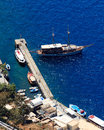 Fira santorini greece view down on to the port at on the island of Royalty Free Stock Photography