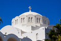 Fira santorini island greece europe the orthodox metropolitan cathedral in the principal town of Royalty Free Stock Image