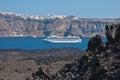 Fira santorini volcanic rock basalt and the town of greece Stock Image