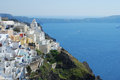 Fira town and deep blue sea santorini greece Royalty Free Stock Photo