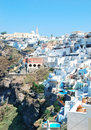 Fira village on santorini island greece Royalty Free Stock Photos
