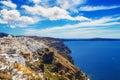 Fira village on santorini island greece Stock Photos