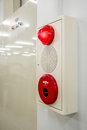 Fire alarm box , press switch ,siren and red light Royalty Free Stock Photo