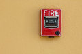Fire alarm red box fire safety Royalty Free Stock Photo