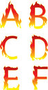 Fire alphabet abcdef Royalty Free Stock Photos