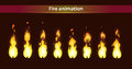 Fire animation sprites vector flame video frames for game design Royalty Free Stock Photo