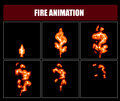 Fire animation sprites, vector flame video frames for game design Royalty Free Stock Photo