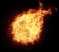 Fire ball with free space for text isolated on black background Royalty Free Stock Images