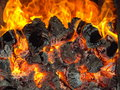 Fire in the bashkir bath Royalty Free Stock Image