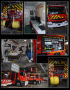 Fire brigades equipment french with high intervention and medical room Royalty Free Stock Image