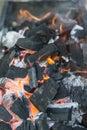 Fire burning coals Royalty Free Stock Photo