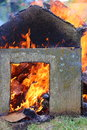 Fire burning wood with and flames Royalty Free Stock Images