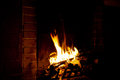 Fire burns in a fireplace Royalty Free Stock Photo