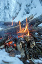 Fire burns in the snow in the woods on a background of snow covered firs walpaper Royalty Free Stock Photography