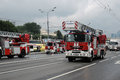 Fire cars at First Moscow Parade of City Transport Royalty Free Stock Photo