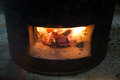 Fire coals in the stove Royalty Free Stock Photo