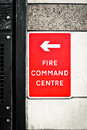 Fire command centre sign for a on a wall Stock Photos