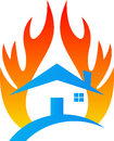 Fire damage home insurance a vector drawing represents design Stock Photos
