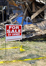 Fire Damaged Home For Sale Royalty Free Stock Photography