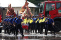 Fire dance firefighter was performing a in an anniversary of the city of solo central java indonesia Royalty Free Stock Photography