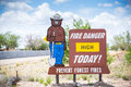 Fire danger high today prevent forest fires sign Stock Images