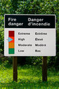 A fire danger indicator sign in both english and french Royalty Free Stock Photo