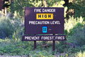 High Fire Danger Sign