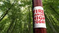 Fire danger sign on the tree Royalty Free Stock Photography