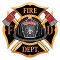 Fire Department Cross Vintage with Black Helmet and Axes Royalty Free Stock Photo