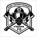 Fire department emblem - badge, logo on white background - vector illustration. Royalty Free Stock Photo