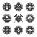 Fire department emblems black professional firefighter equipment set isolated vector illustration Stock Photography