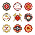 Fire department emblems rescue and protection volunteers and professional firefighter set isolated vector illustration Stock Photos