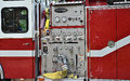 Fire department fire engine pumper control station Stock Image