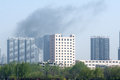 Fire disaster the in urban high rise buildings Stock Photography