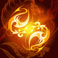 The fire element illustration with flame tips drawn in shape of dragon bodies against dark red swirly background as allegory of Stock Image