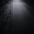 Fire emergency rescue access escape ladder stairway, roof maintenance stairs at night, bright shining lantern lamp illumination Royalty Free Stock Photo