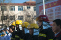 Fire emergency rescue drill november morning baixiang county middle school held a stampede of and exercises the exercise simulated Royalty Free Stock Photo