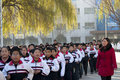 Fire emergency rescue drill november morning baixiang county middle school held a stampede of and exercises the exercise simulated Royalty Free Stock Images