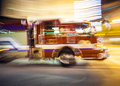 Fire engine on duty miami usa august brigade in south miami at night in action red racing through the street in miami florida usa Royalty Free Stock Photo
