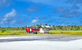 Fire-engine on a take-off field of small  island Royalty Free Stock Photography