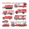 Fire engine vector firefighting emergency vehicle or red firetruck with firehose and ladder illustration set of