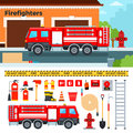 Fire engine waiting on the street vector flat illustrations firefighters truck standing emergency concept harmer tube stairs Stock Photo