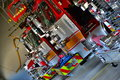Fire engines waiting for call five pieces of apparatus in house Royalty Free Stock Images