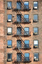 Fire escape nyc along the brick wall Royalty Free Stock Images