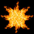 Fire explosion isolated on black background close up Stock Image